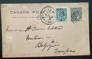 1912 Beau Rivage Canada Postal Stationery Postcard Cover To Malines Belgium