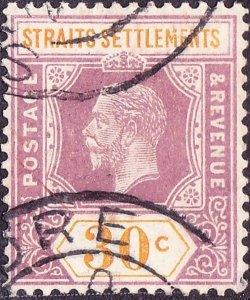 MALAYA STRAITS SETTLEMENTS 1914 KGV 30 Cents Dull Purple & Orange Die I SG207