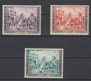 Laos 1954 Sc#25-26 + C13 50th Anniv Accession of King Sisavang-Vong MNH Luxe