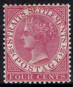 STRAITS SETTLEMENTS 1882 QV 4C WMK CROWN CA