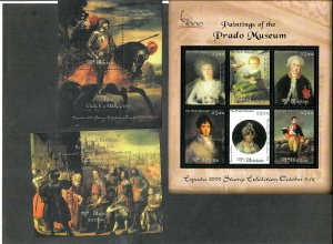 Bhutan Sc#1327-1329, 1330-1332 M/NH/VF, Paintings S/S, Cv. $53