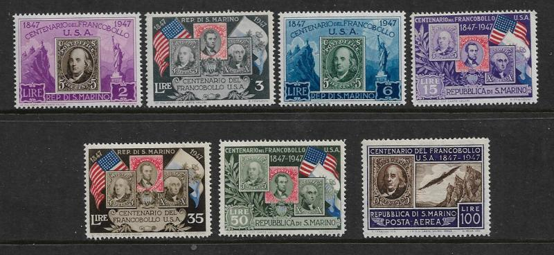 SAN MARINO 266-271, C551 MINT HINGED USA FIRST POSTAGE STAMPS, SET, 1947