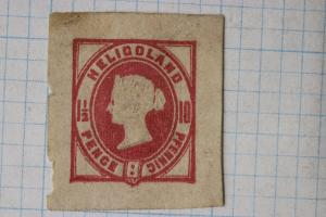 Heligoland 10 pence queen victoria postal stationery cut square DC