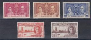 BARBADOS  1937 - 46   CORONATION & VICTORY SETS  M H