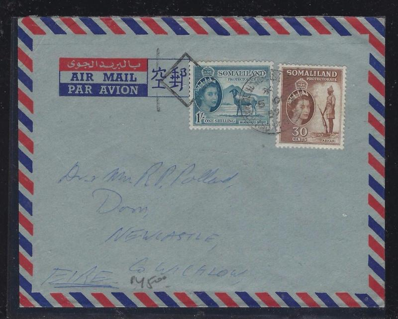 SOMALILAND COVER (P0412B)   QEII 30C+1/- A/M TO IRELAND