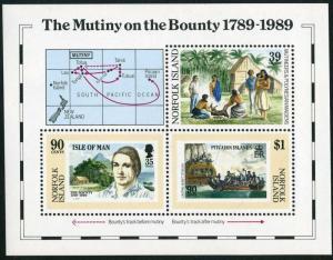 Norfolk 456 sheet,MNH.Michel Bl.12. Mutiny on the Bounty,200,1989.Capt.Bligh.Map