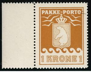 Greenland 1 KR Pakke - Porto Sc Q11 VF+ MNH w/selvage SCV $125...Hard to Find!