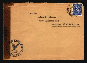 Germany 1946 Censor Cover to USA  - Z17095