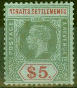 Straits Settlements 1918 $5 on Blue Green Back SG212b Fine & Fresh Mtd Mint