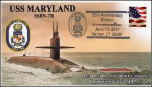 17-315, 2017,USS Maryland, Event Cover, Pictorial Postmark, SSBN-738