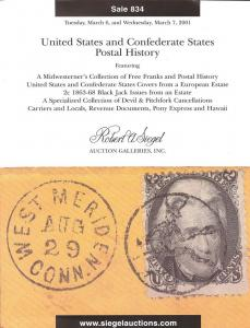 Siegel: Sale # 834  -  United States and Confederate Stat...