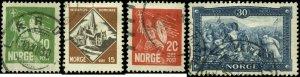 Norway  Scott #150 - #153 Complete Set of 4 Used