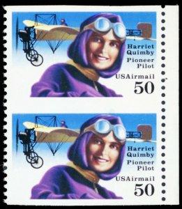 C128a, Mint VF NH Rare 50¢ Airmail Imperforate Vertical Pair - Stuart Katz