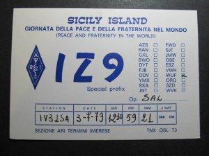 10055 Amateur Radio QSL Card SICILY ISLAND