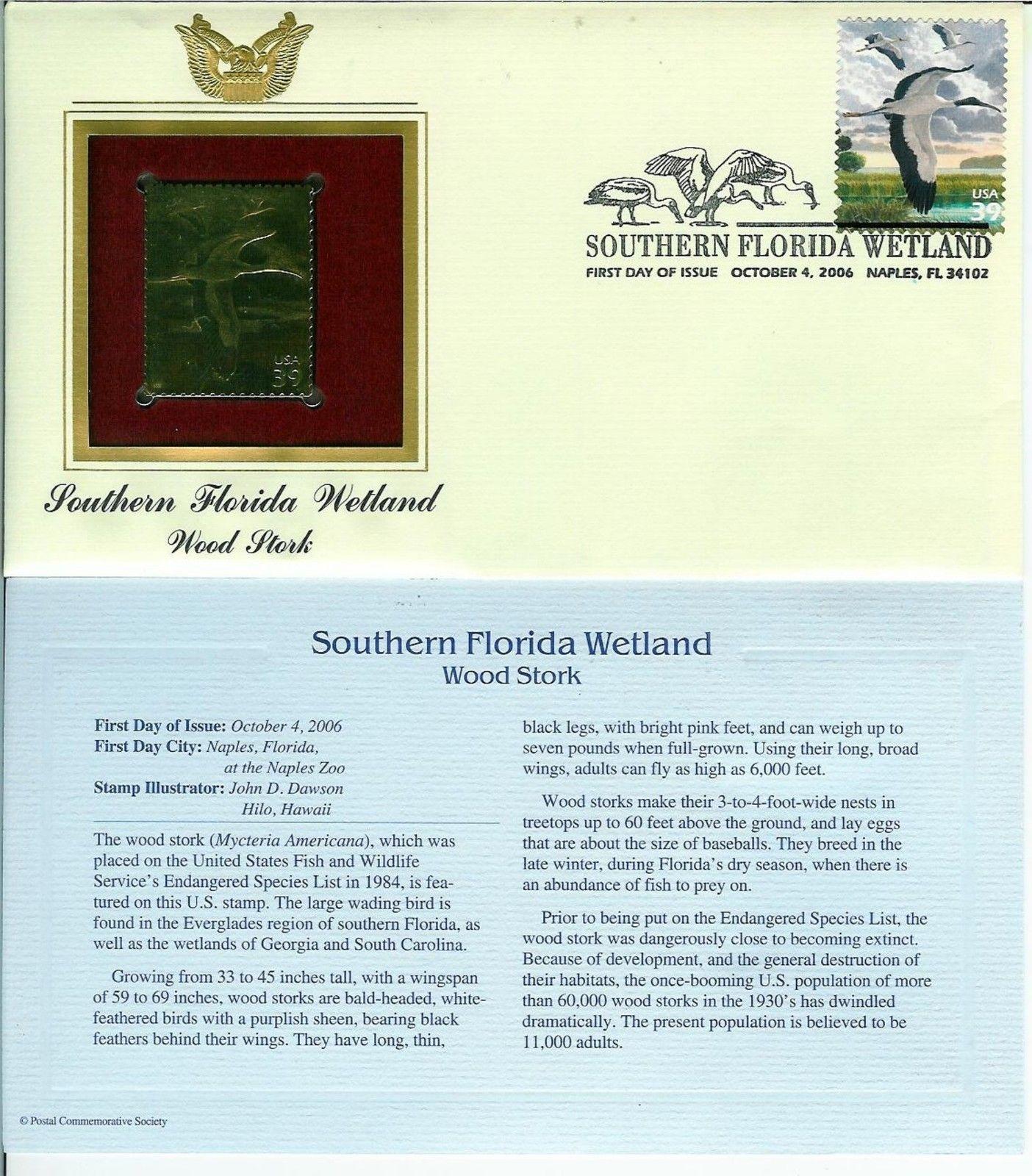 GOLD FOIL 22k FDC Southern Florida Wetland Naples FL + Wood Stork +