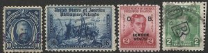 PHILIPPINES O.B. Official Overprints x 3 used, + 16c regular issue F-VF