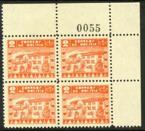 BOLIVIA 1938 2c NATIVE SCHOOL SHEET NUMBER Block of 4 Sc 242 MNH