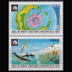 CHILE 1991 - Scott# 975a Antarctic Treaty Set of 2 NH