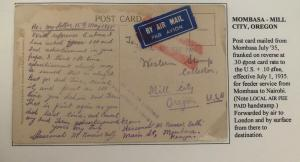 1935 Mombasa Kenya RPPC Postcard Airmail Cover To Mill City OR USA Tembi Valley
