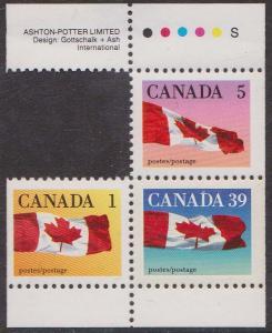 Canada - 1990 1c, 5c & 39c Multi-Coloured Flags VF-NH #1184a