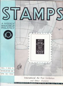 Stamps Weekly Magazine of Philately April 28, 1934 Stamp Collecting Magazine