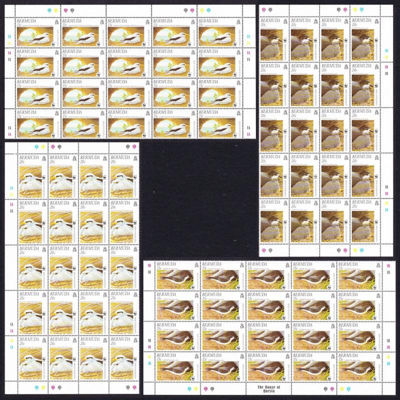 Bermuda WWF Cahow and Tropicbird Half Sheets of 20 sets SG#852-855 SC#798-801
