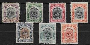 LABUAN SG117a/28a 1902-3 DEFINITIVE SET OF 7 p14½-15 MTD MINT