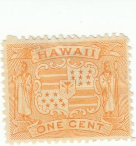 Hawaii, Scott #74 - 1c Yellow - Mint Hinged