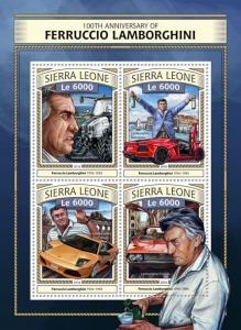 Sierra Leone 2016 MNH Ferruccio Lamborghini 100th Anniv 4v M/S Cars Stamps