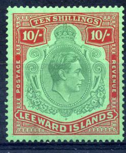 Leeward Is. 1938 Key plate SG 113b 10/- Green & Red/ green ord paper