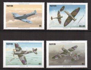 Nevis   #460-463  MNH 1981  spitfire fighter plane