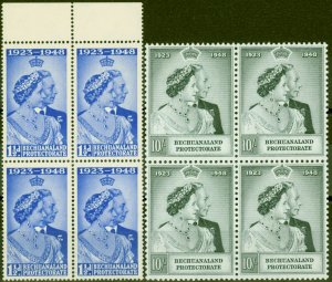 Bechuanaland 1948 RSW set of 2 SG136-137 in V.F MNH Blocks of 4