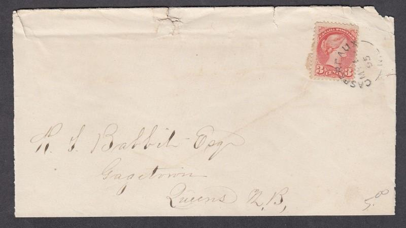 NEW BRUNSWICK SPLIT RING TOWN CANCEL COVER GASPEREAUX