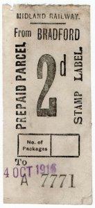 (I.B) Midland Railway : Prepaid Parcel 2d (Bradford)