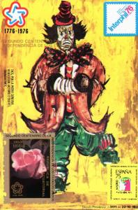 Equatorial Guinea 1976 rose-Clown Painting s/s mnh.vf