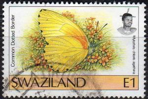 Swaziland 611 -Used - 1e Dotted-border Butterfly (1992) (cv $2.90) (2)