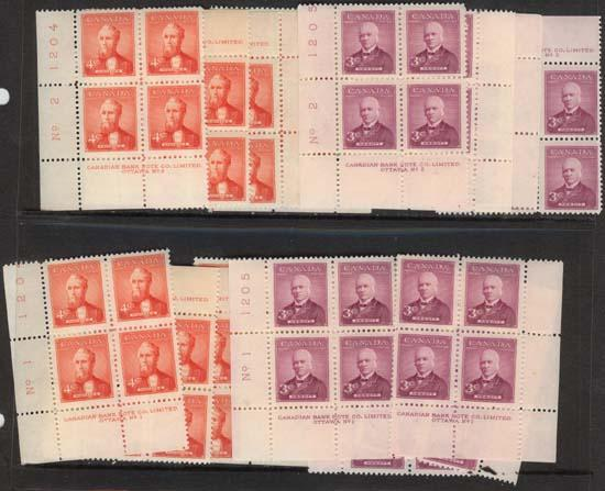 Canada - 1952 Prime Ministers Plate Blocks mint #318-319 Plates 1&2