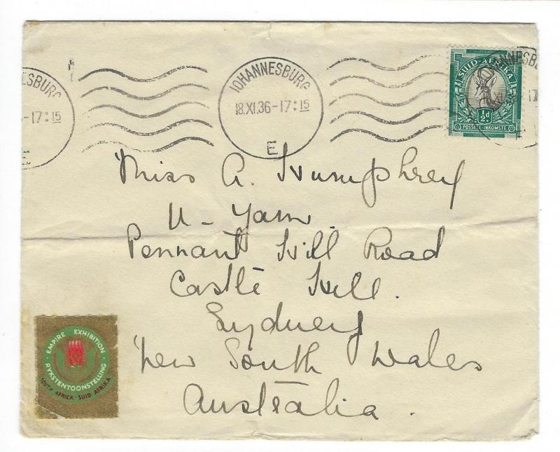 1936 South Africa To Australia Airmail Cover - Empire Exhibition - (RR27)