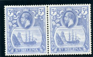 St Helena 1922 KGV 3d bright blue Badge issue Torn Flag var MLH. SG 101, 101b.