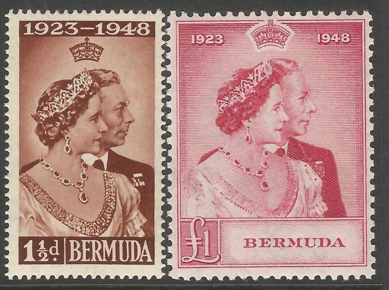 Bermuda 1948 KGVI Royal Silver Wedding set SG125-126 fresh unmounted mint