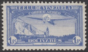 Venezuela 1937 1.95b Light Ultramarine. LM Mint. Scott C57, SG 480