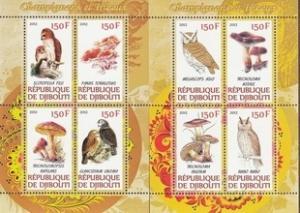 Djibouti 2012 Animals Birds Owls Mushroom Plants Fungi Fauna 2 M/S Stamps MNH