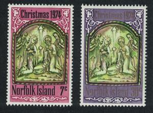 Norfolk Pearl-shell Pew Carving Christmas 2v issue 1974 SG#156-157 SC#179-180