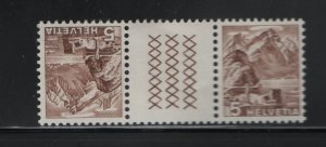 SWITZERLAND 316A, Tete Beche Pair, Hinged, 1948 Mt. Pilatus