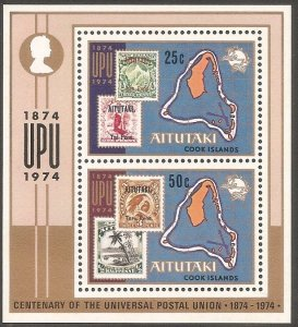 Aitutaki MNH S/S 103a Centenary Of UPU 1874-1974