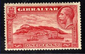 Gibraltar 1931 - 33 KGV 1d Scarlet MM SG 110a Loose perf CV £16 G1233 )
