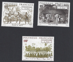 French Polynesia #594-6 MNH, set, dancers from Tahiti,Tonga & Hawaii issued 1992