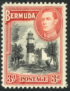 BERMUDA 1938-51 KGVI 3d ST DAVID'S LIGHTHOUSE Pictorial Sc 121 MH