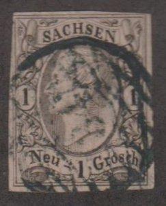 German States - Saxony Scott #10 Stamp - Used Single