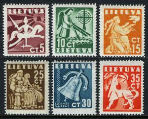 Lithuania 317-322, MNH. Definitive.Knight,Angel,Dove,Mother,Bell,Animal, 1940